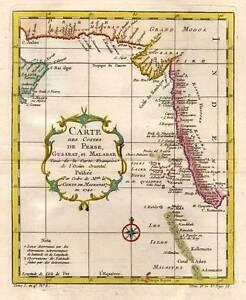 Persien Karte.Details Zu Persien Indien Persia India Kupferkarte Karte Map Von Bellin 1740