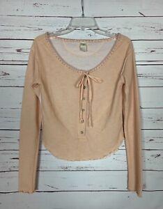 Free People We The Free Women's M Medium Peach Long Sleeve Spring Cute Top Shirt