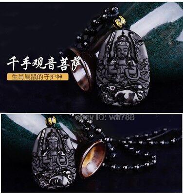Natural Obsidian Zodiac rat Pendant Amulet