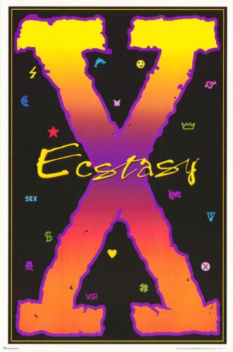 BLACKLIGHT XCSTASY FREE SHIPPING FL34S   LC4 B POSTER :SIGN :ECSTASY