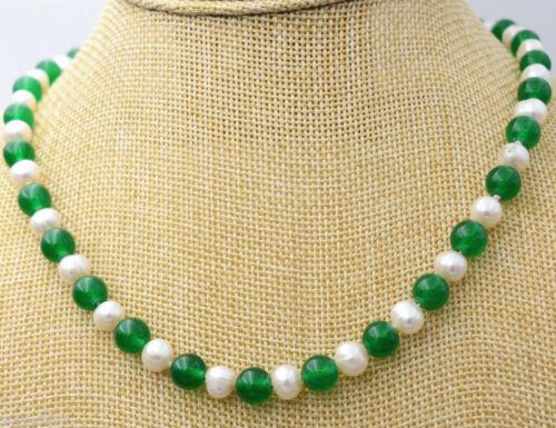 "Vente Chaude Long 18/"" 36/"" 7-8 mm Blanc Naturel Perle /& 8 Mm Jade Pierres Précieuses Perles Collier"