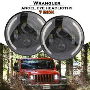 2X-7-039-039-LED-Feux-Phare-Avant-Hi-Lo-DRL-Lampe-Angel-Eye-pour-JEEP-Wrangler-JK-TJ