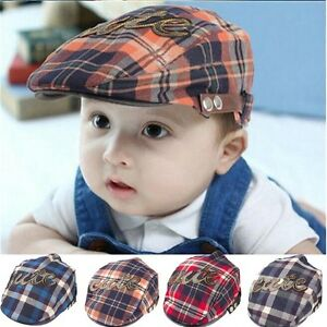 Baby Kids Girls Casquette Infant Flat Peaked Sun Hat Toddler Plaid ... 68bb88eb3be