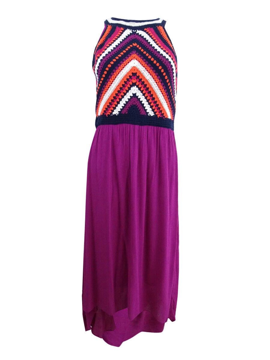 Sangria Woherren High-Low Crochet-Contrast Dress