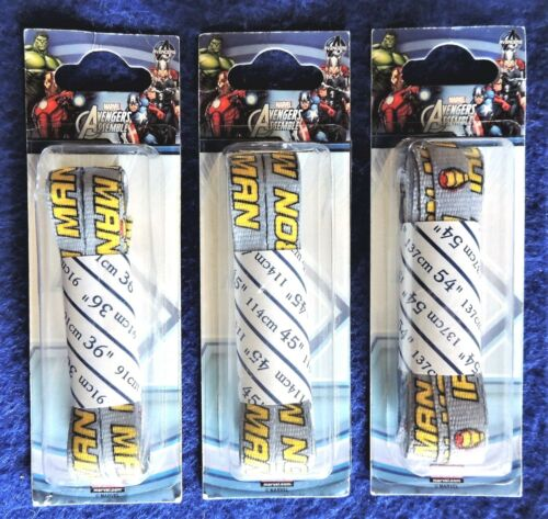 """1 Pair Iron-Man Gray Shoe Laces Marvel Avengers 36/"""" 45/"""" or 54/"""" Hickory Brand"""