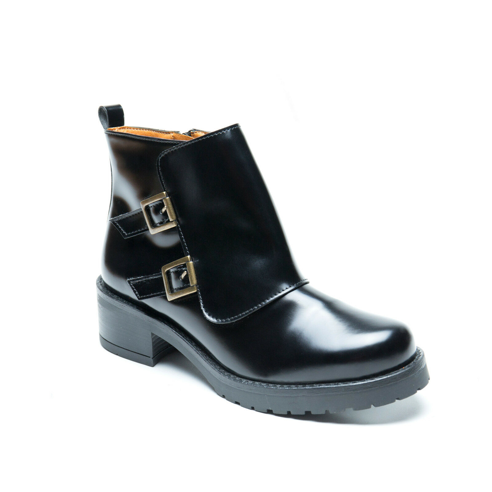 nae - Vegan Boots with Tight Wrap Closure by Two Ribbons Eco Bright Black Botas