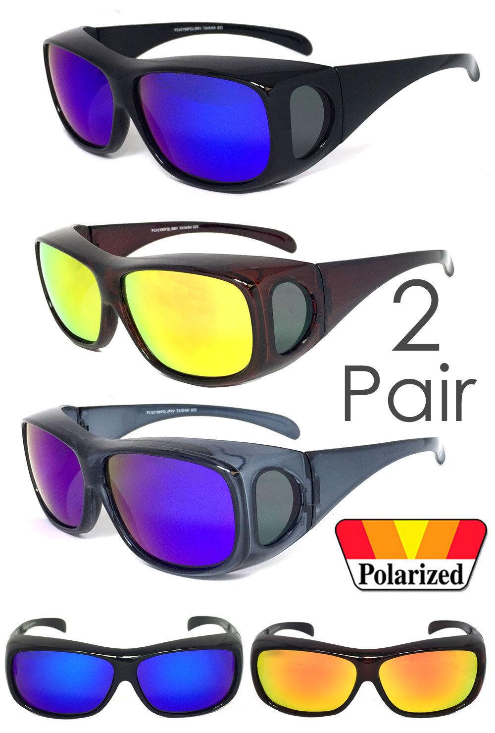 2 Paire Polarisé Miroir Lentille Pour Sur Lunettes de Soleil Cache Rx UV Protect