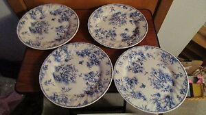 ... queen-039-s-china-chelsea-toile-blue-dinner- & queenu0027s china chelsea toile blue dinner plates x4 stk480   eBay