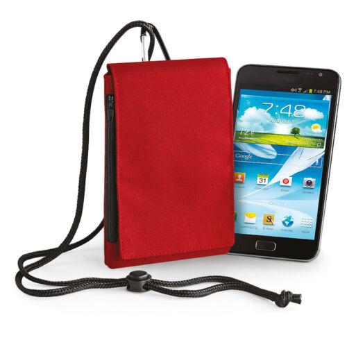 Smartphone teléfono Pouch XL BAGBASE Cubierta Cable De Cuello Bolsillo con Cremallera Vacaciones Viaje