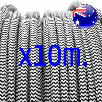 10m of BLACK & WHITE vintage style textile fabric cord old 3 core light cable