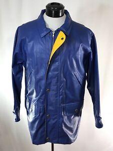 WOOLRICH-Blue-Heavy-PVC-Waterproof-Raincoat-Jacket-Cotton-Lined-sz-M-Rare-Model