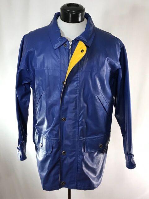 WOOLRICH Blue Heavy PVC Waterproof Raincoat Jacket Cotton-Lined sz M Rare Model
