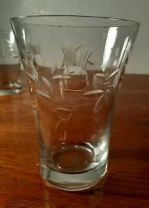 6-Antique-Glass-Thistle-Cut-Juice-Cups-Etched-Flared-Tumbler-Ci-1940-039-s
