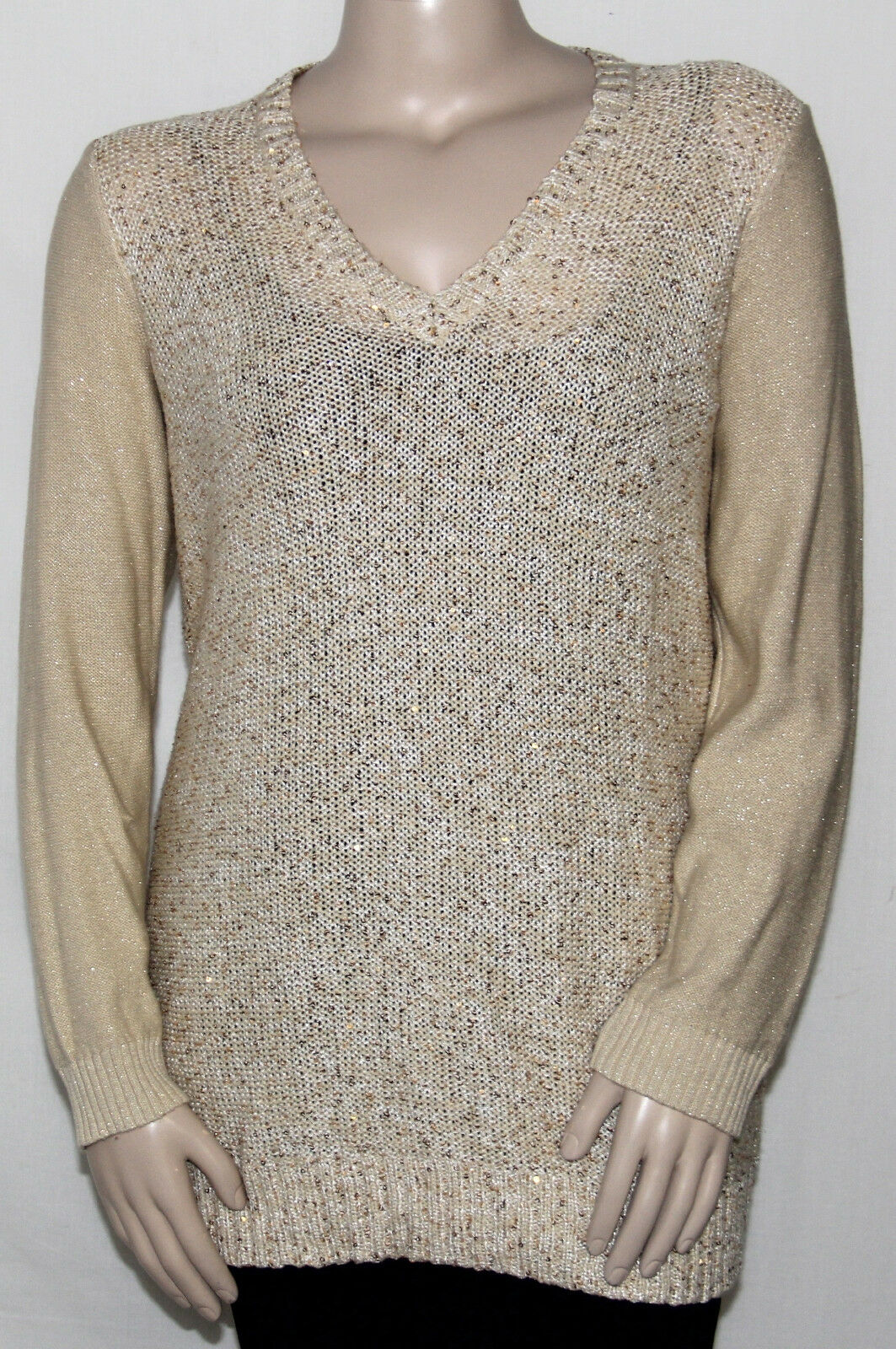 NEW Charter Club Plus 1X Long Sleeve V-Neck Metallic Sequin ...