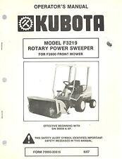 KUBOTA F3219 ROTARY POWER SWEEPER OPERATOR'S MANUAL For F2000 Front Mower