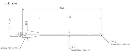 CMM Probe stylus M2 Ø1mm tungsten carbide spherically ended cylinder A-5003-1218
