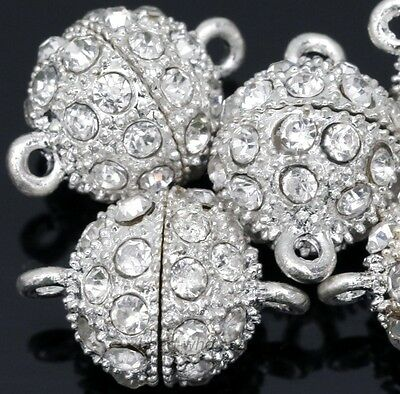 5x Silver Plated Round Ball Crystal Rhinestone Strong Magnetic Clasps For Craft