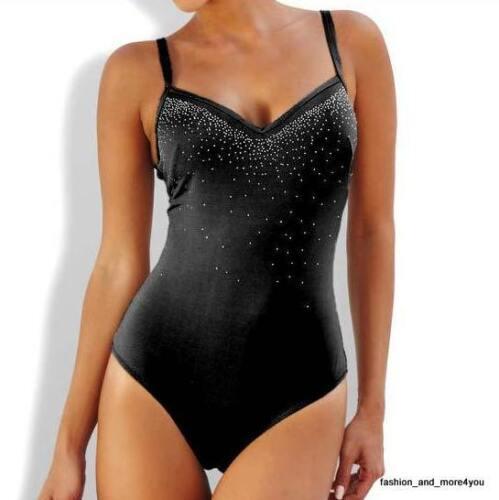 HEINE schwarzer Badeanzug mit Glitzereffekten Gr.34 Cup D