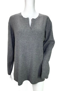 Preston-amp-York-Gray-100-Cashmere-V-neck-Long-Sleeve-Sweater-Ribbed-Size-Small