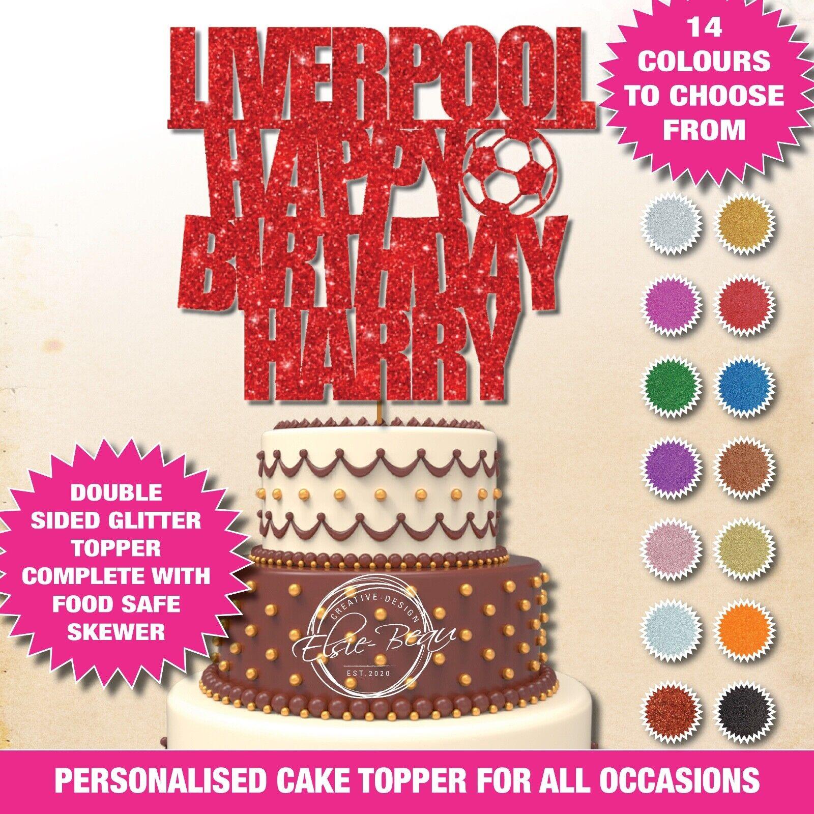 Liverpool Feliz Cumpleaños Doble Brillo Cake Topper Personalizado de fútbol del FC 41
