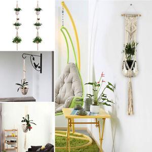 Plant-Hanger-Cotton-3-Tier-Macrame-Rope-Flower-Pot-Hanging-Planter-Basket-Holder