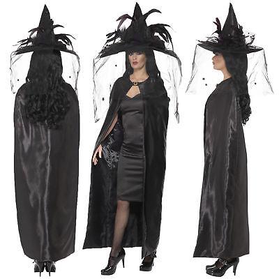 Umhang Mantel Deluxe Halloween Schwarze Erwachsene Kostüm Hexen Damen Kostüm 8dEgwwx7Bq