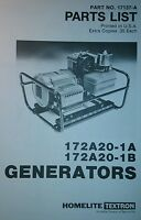 Homelite Generator Parts Manual 4p 172a20-1a & -1b Off Grid Camping Preppers