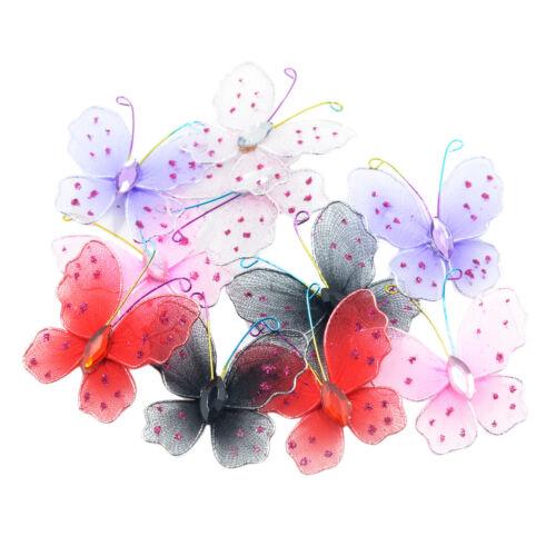 10 Stück gemischt 3D Glitter Mesh Strumpf Schmetterling Hochzeit Handwerk