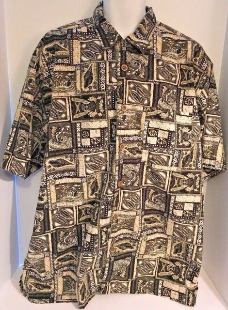 Lot Of 2 Hawaiian Aloha Shirt Trout Fly Fishing Tiki Hut Mens XXL