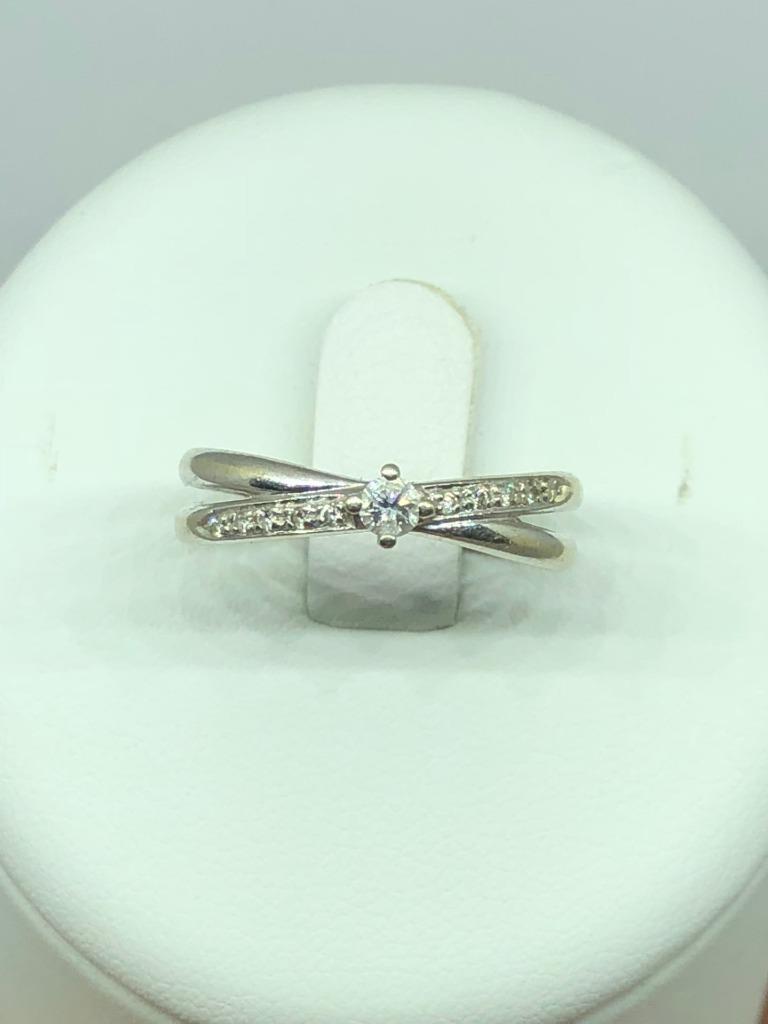 VINTAGE 18ct oro BIANCO BIANCO BIANCO 0.15CT Diamond Cross Over Anello di fidanzamento Taglia M 1 2 072140
