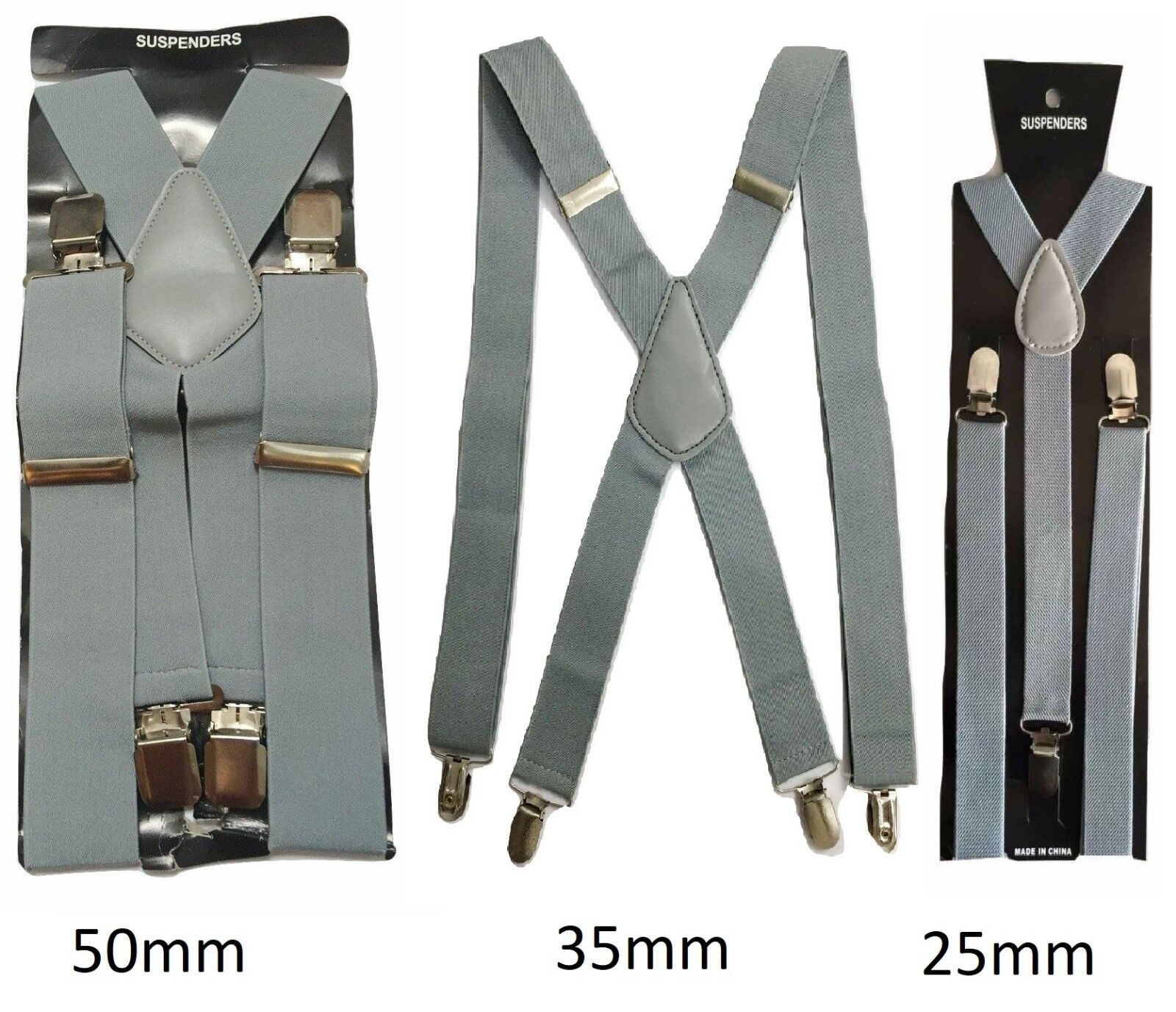 Silber Grau Herren Damen Hosenträger Elastisch Breit Haltbar Hose 25mm 35mm 50mm