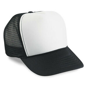 Wholesale Lot 2 Dozen   24 Blank Foam Mesh Trucker Hats White Black ... 610f25d62c4