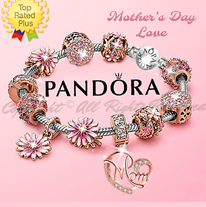Authentic Pandora Bracelet Silver With Rose Gold Mom Pink Flower European Charms Ebay