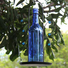 Vintage Style Glass Bottle Bird Feeder Blue Glass Wine Bottle - FREE USA SHIP