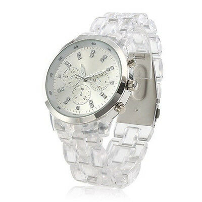 Men/Women's Unisex Quartz Fashion Wrist Watch Clear Plastic Band Round Scale