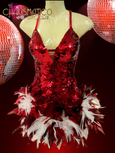 Red Sequined Latin-Inspired Adjustable dress with White and Pink feathers