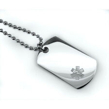 Medical Alert Stainless Steel Dog Tag Necklace Small Logo Engraving