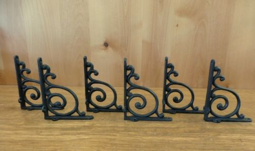 6 BROWN ANTIQUE-STYLE 5.5 SHELF BRACKETS RUSTIC CAST IRON WAVE DESIGN wall