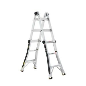 Details about Aluminum Multi-Position Gorilla Ladder 375 lb  14 ft  Heavy  Duty Feet Adjustable