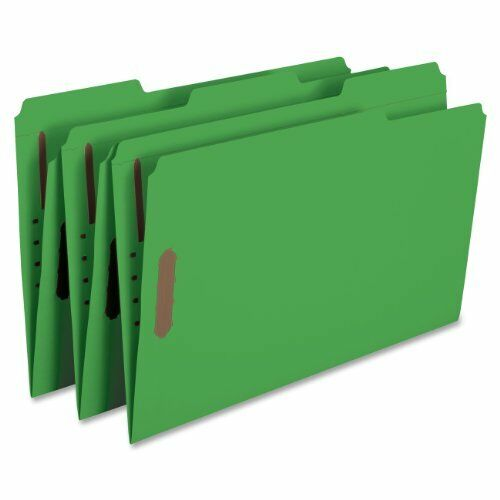 Smead 17140 Green colord Fastener File Folders With Reinforced Tabs - Legal -