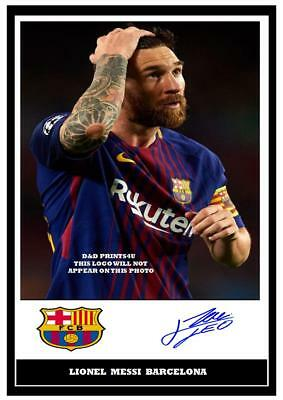 Lionel Messi Barcelona FC Soccer Football Signed Autographed A4 Photo Print Gift