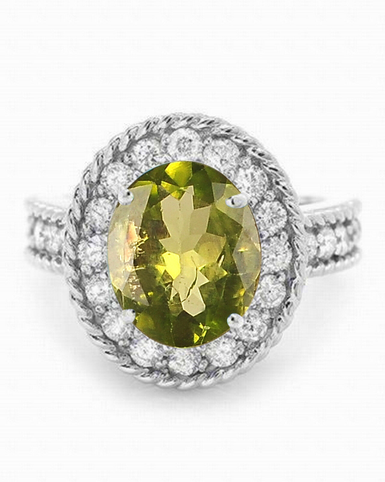 14KT White gold Natural Olive-Green Peridot 2.20Ct EGL Certified Diamond Ring