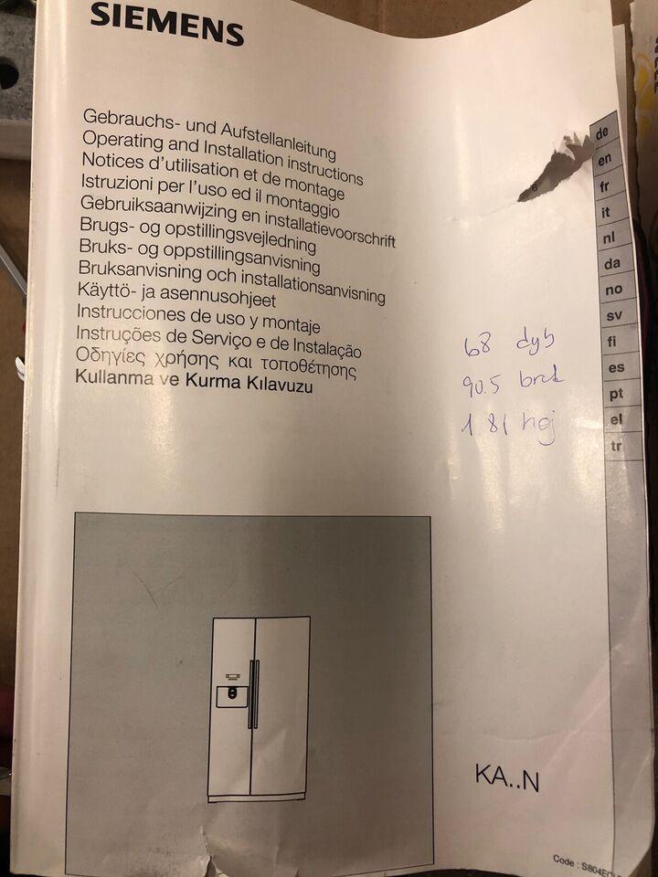 Amerikansk køleskab, Siemens, b: 91 d: 68 h: 181
