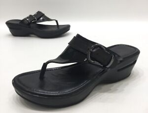 Cole-Haan-NikeAir-Maddy-Tant-Black-Patent-Leather-Wedge-Sandals-Size-7B