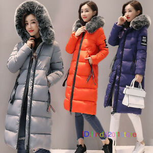 New-Womens-Ladies-Plus-Size-Long-Quilted-Padded-Winter-Jacket-Coat-Fur-Trim-Hood