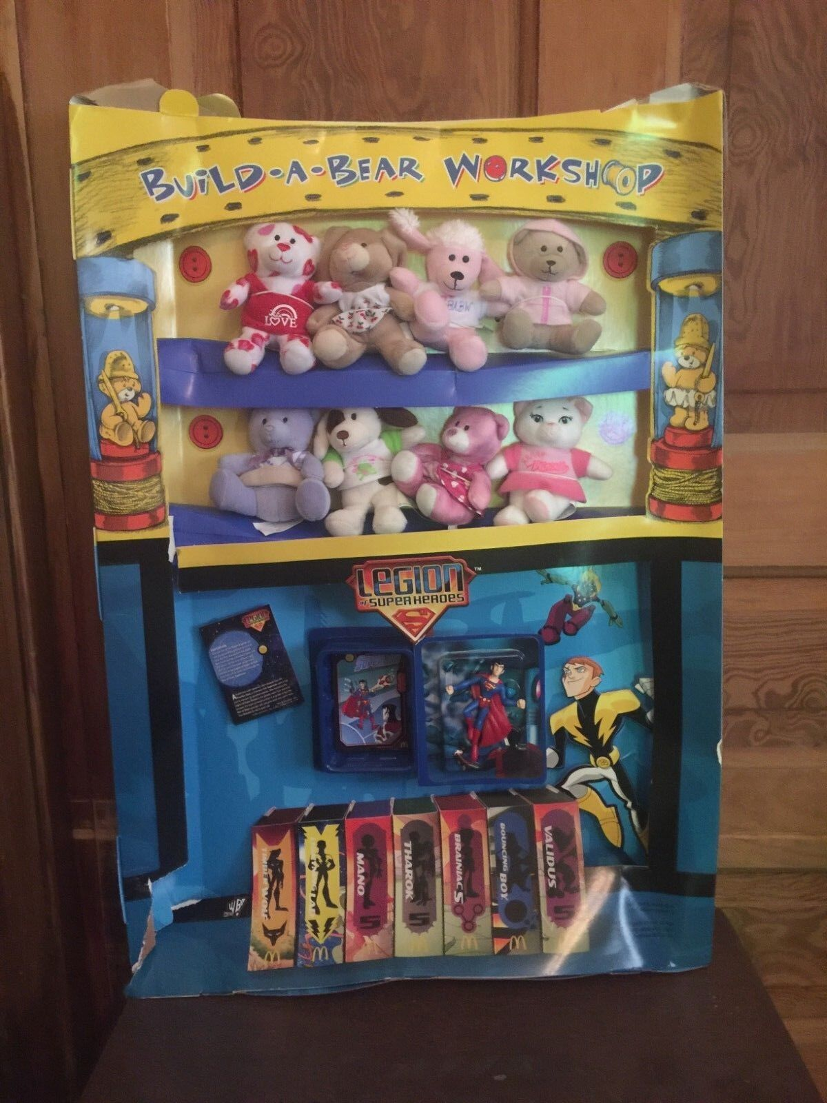 2007 McDonalds Build A Bear and Legion Of Superheroes Happy Meal Toy Display