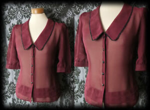 Gothic-Burgundy-Sheer-LIBERTINE-Wide-Collar-Blouse-10-12-Vintage-Pin-Up-Retro