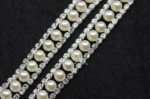 1 Yd 12 mm costume Perles Strass Applique Enjoliveurs Argent Robe Bikini Crafts environ 0.91 m