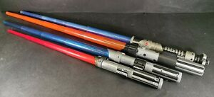 Star-Wars-Hasbro-1999-2001-2015-Bundle-of-4-Blue-and-Red-Lightsaber-Retractable