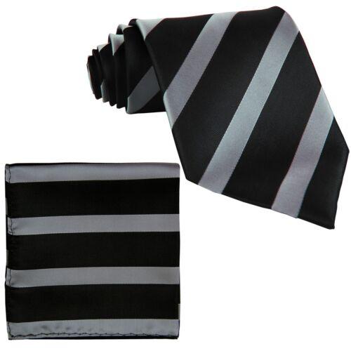 New Polyester Woven Men/'s Neck Tie set black /& gray  Necktie wedding prom
